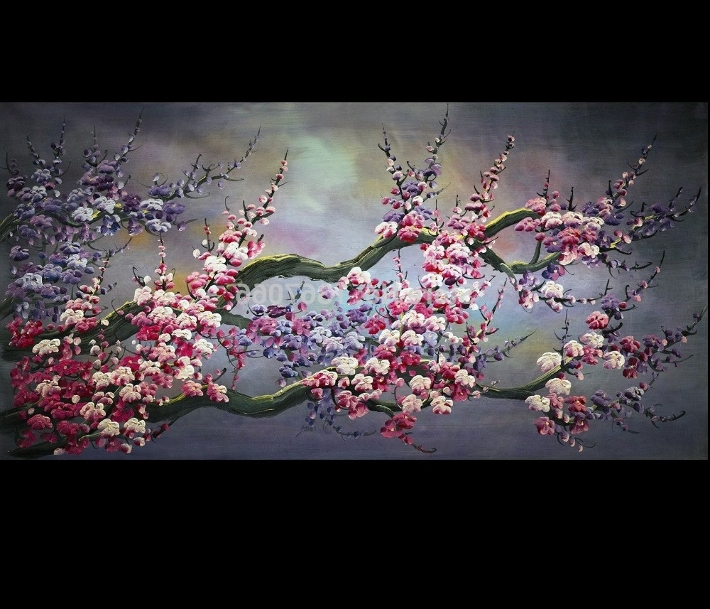 Well Liked There Frame Abstract Art Wall Painting Wall Art Japanese Cherry Pertaining To Abstract Cherry Blossom Wall Art (View 15 of 15)