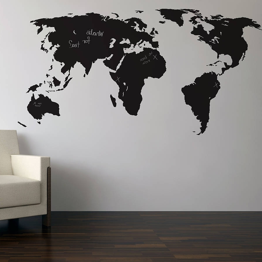 Well Liked Tim Burton Wall Decals Pertaining To Chalkboard World Map Wall Sticker (View 13 of 15)