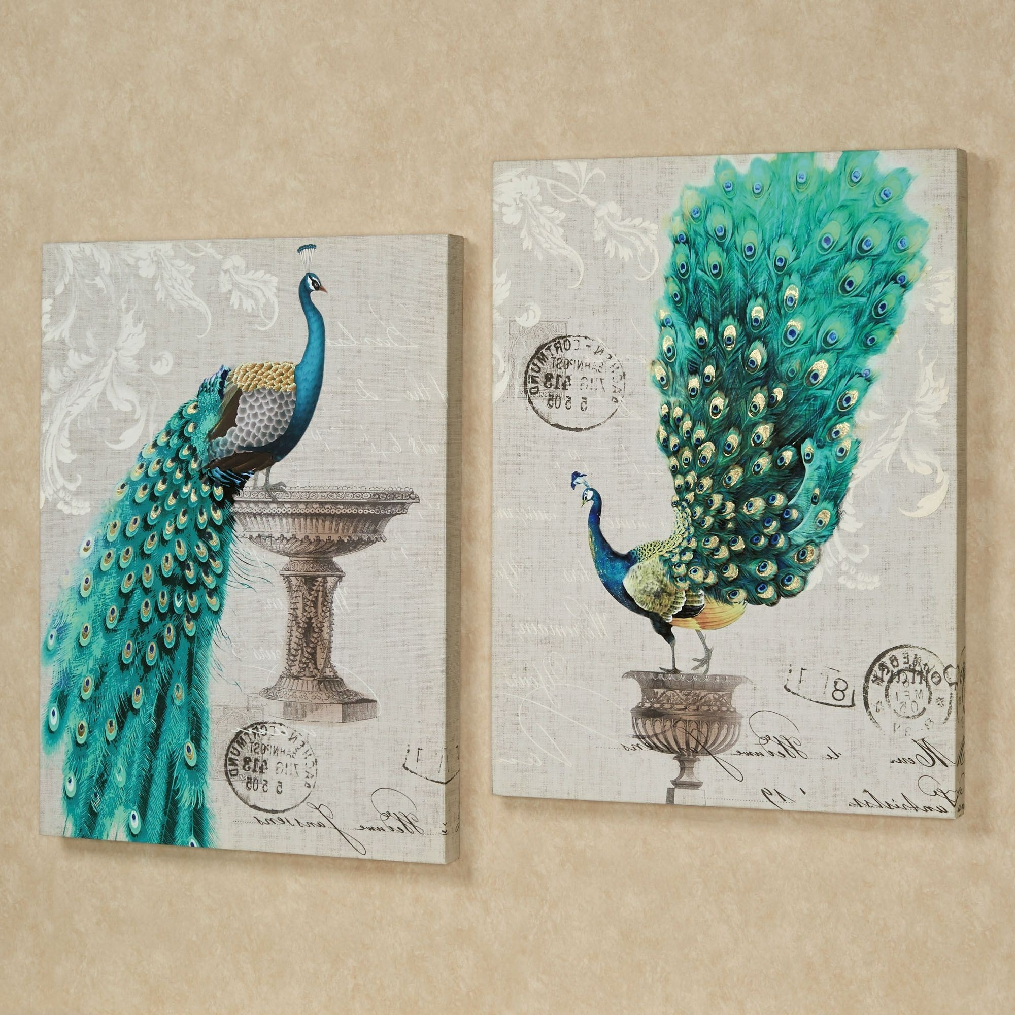Well Liked Touch Of Class Metal Wall Art Intended For Peacock Fanfare Giclee Canvas Wall Art Set (View 15 of 15)