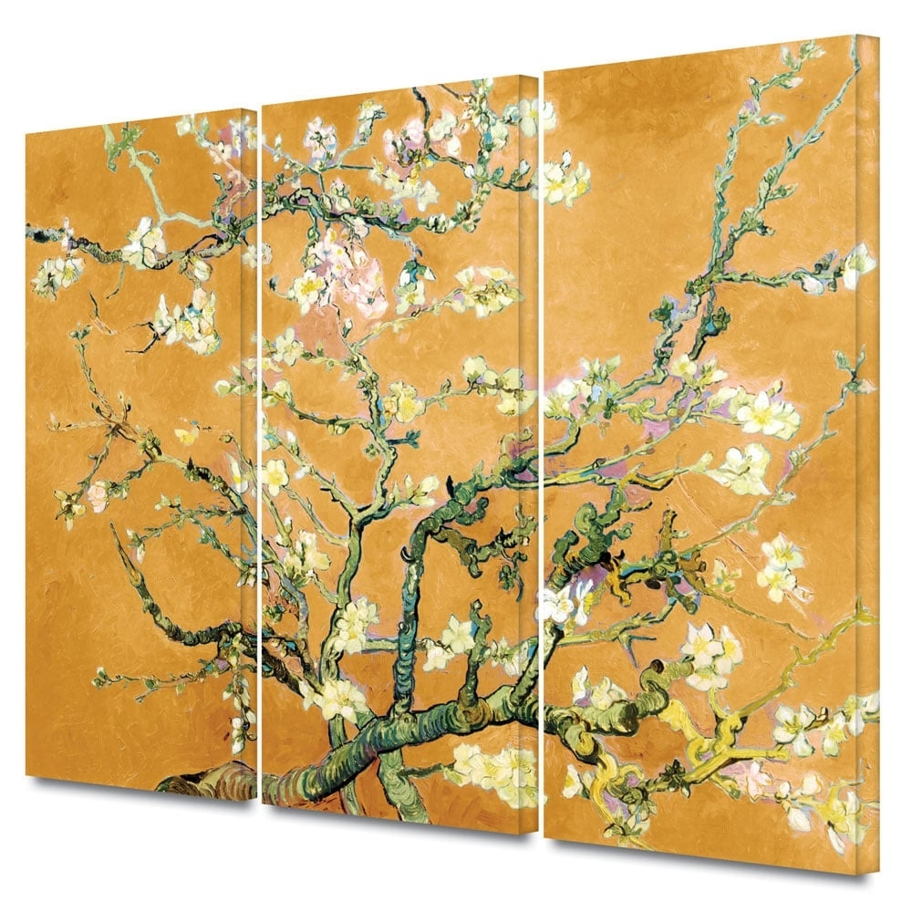 Well Liked Vincent Van Gogh Multi Piece Wall Art For Art Wall Vincent Van Gogh '3 Piece Almond Blossom Interpretation (View 14 of 15)