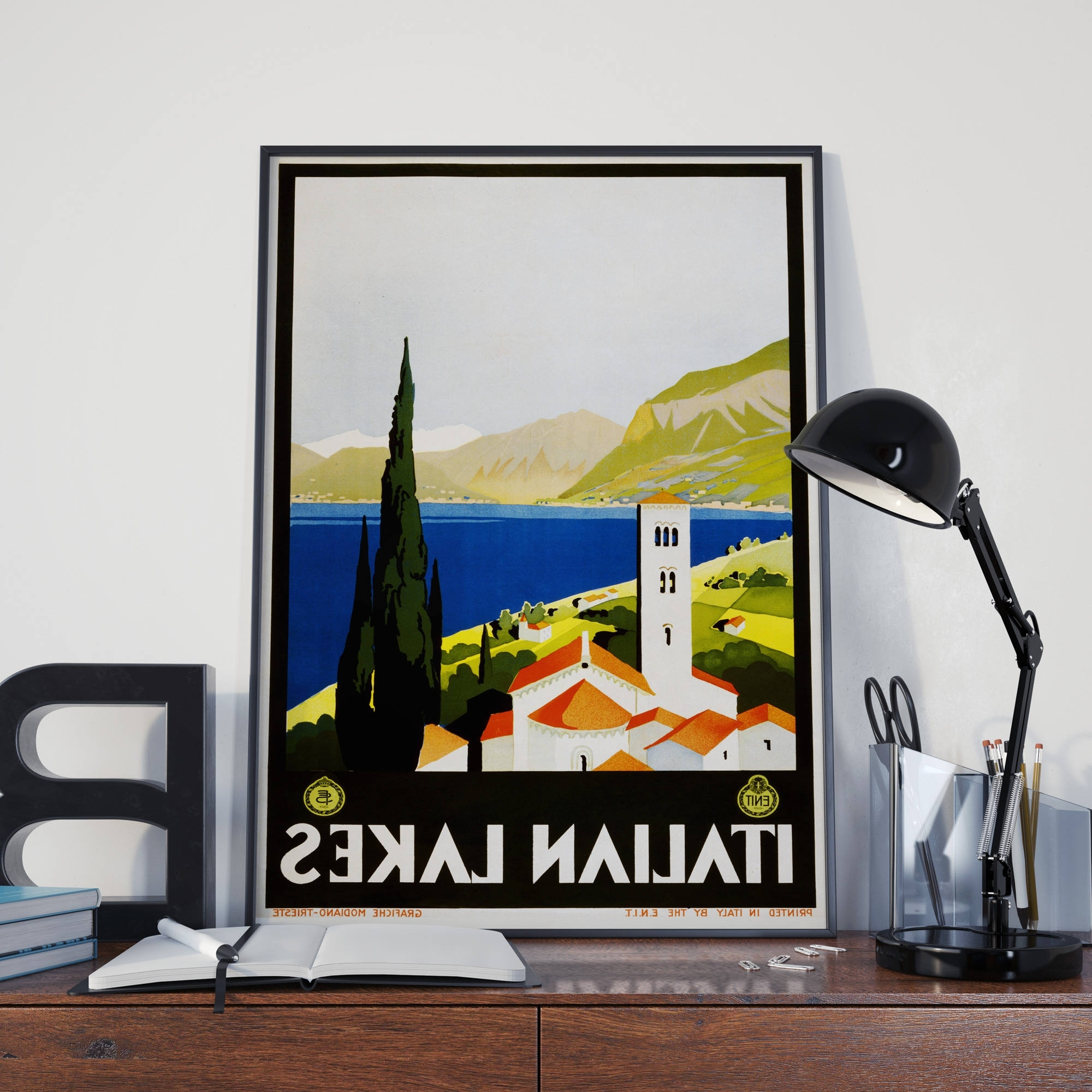 Well Liked Vintage Italian Wall Art With Regard To Italian Decor Italy Travel Poster Italian Lakes Travel Print (View 15 of 15)