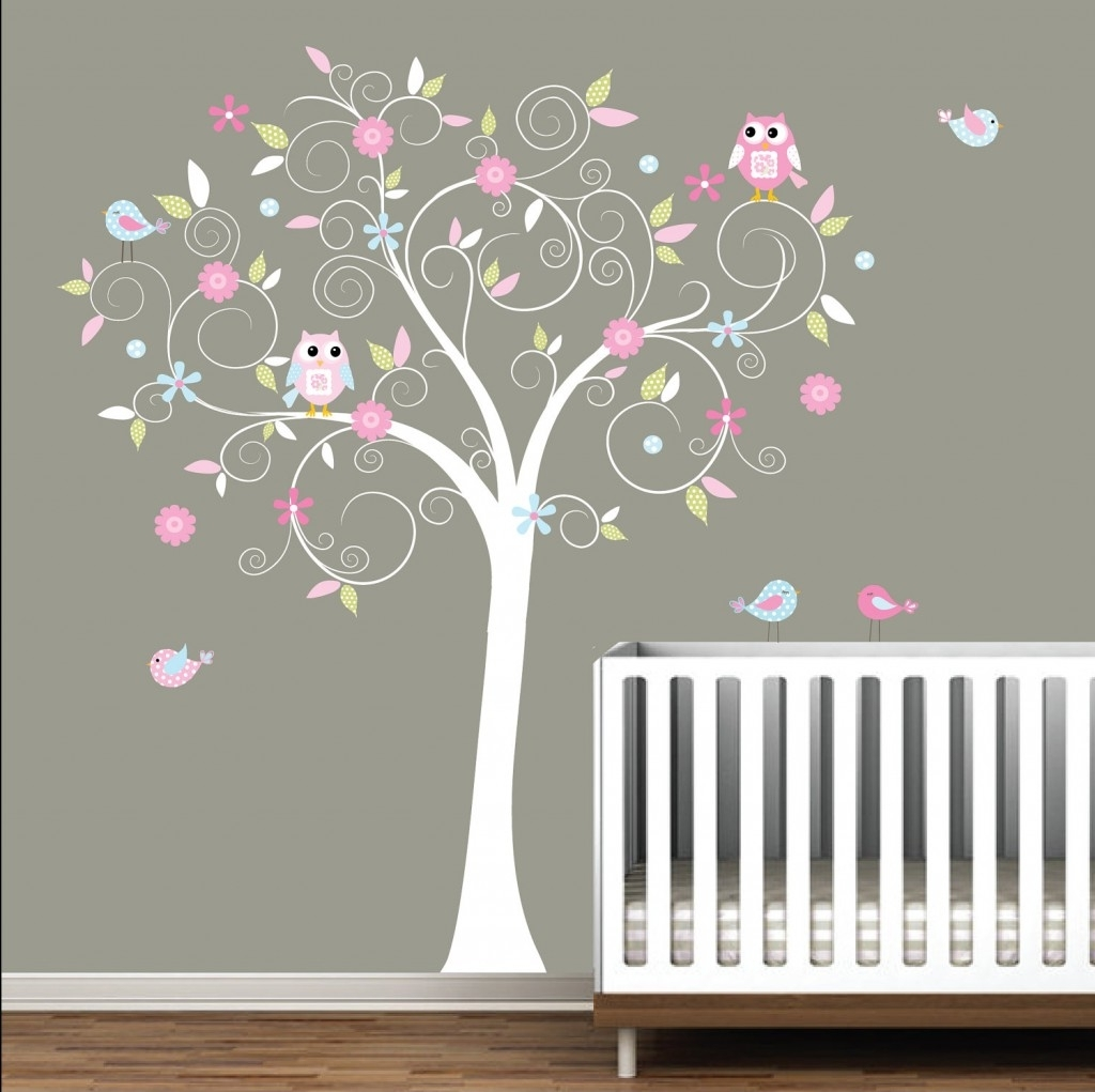 Well Liked Wall Art For Little Girl Room Within Baby Room, Nice Wall Sticker For Baby Nursery Released In White (View 15 of 15)