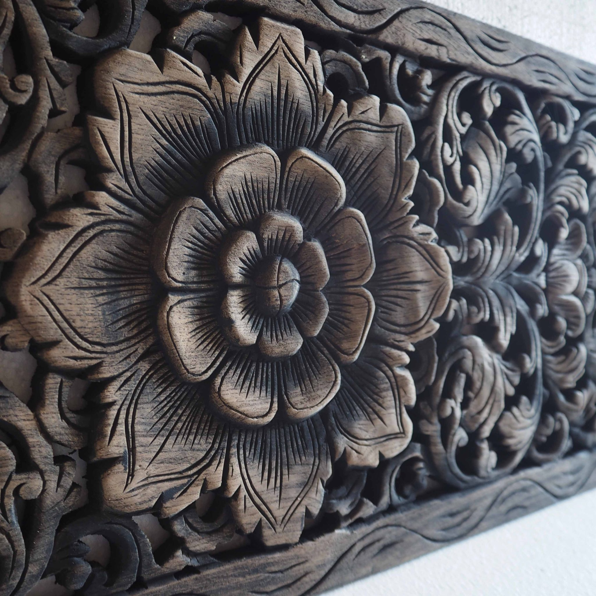 Well Liked Wood Carved Wall Art Panels Regarding Thai Lotus Wood Carving Wall Art Panel – Siam Sawadee (View 5 of 15)