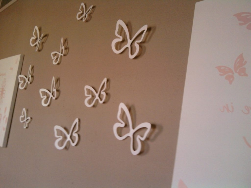 White 3D Butterfly Wall Art Throughout Recent Wall Art Design Ideas: Best White Butterfly Wall Art, Butterflies (View 13 of 15)