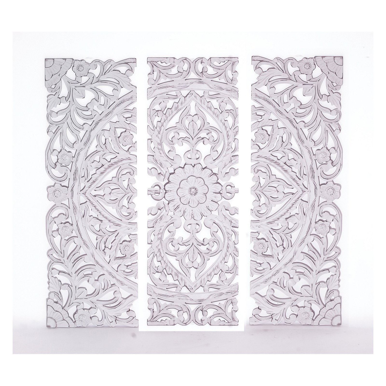 White Wooden Wall Art For Newest Woodland Imports White Carved Wooden Wall Plaque – Set Of (View 3 of 15)