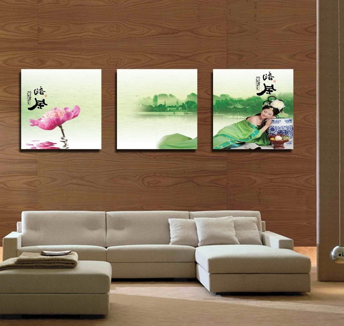 Wholesale Modern Feng Shui Wall Art Water Lily Landscape Painting  Pertaining To Widely Used Feng Shui