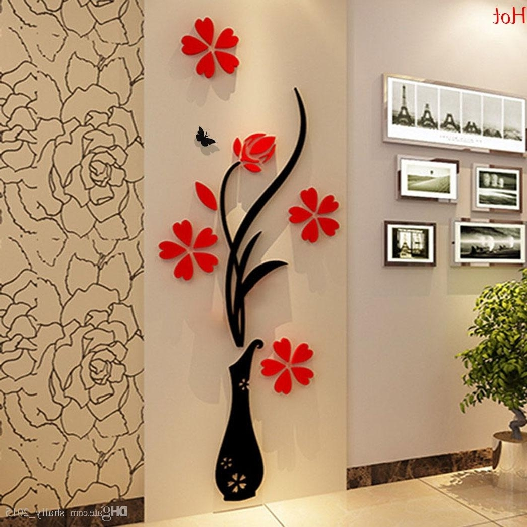 Wholesale Wall Stickers Acrylic 3D Plum Flower Vase Stickers Vinyl Inside Popular Flowers 3D Wall Art (View 15 of 15)
