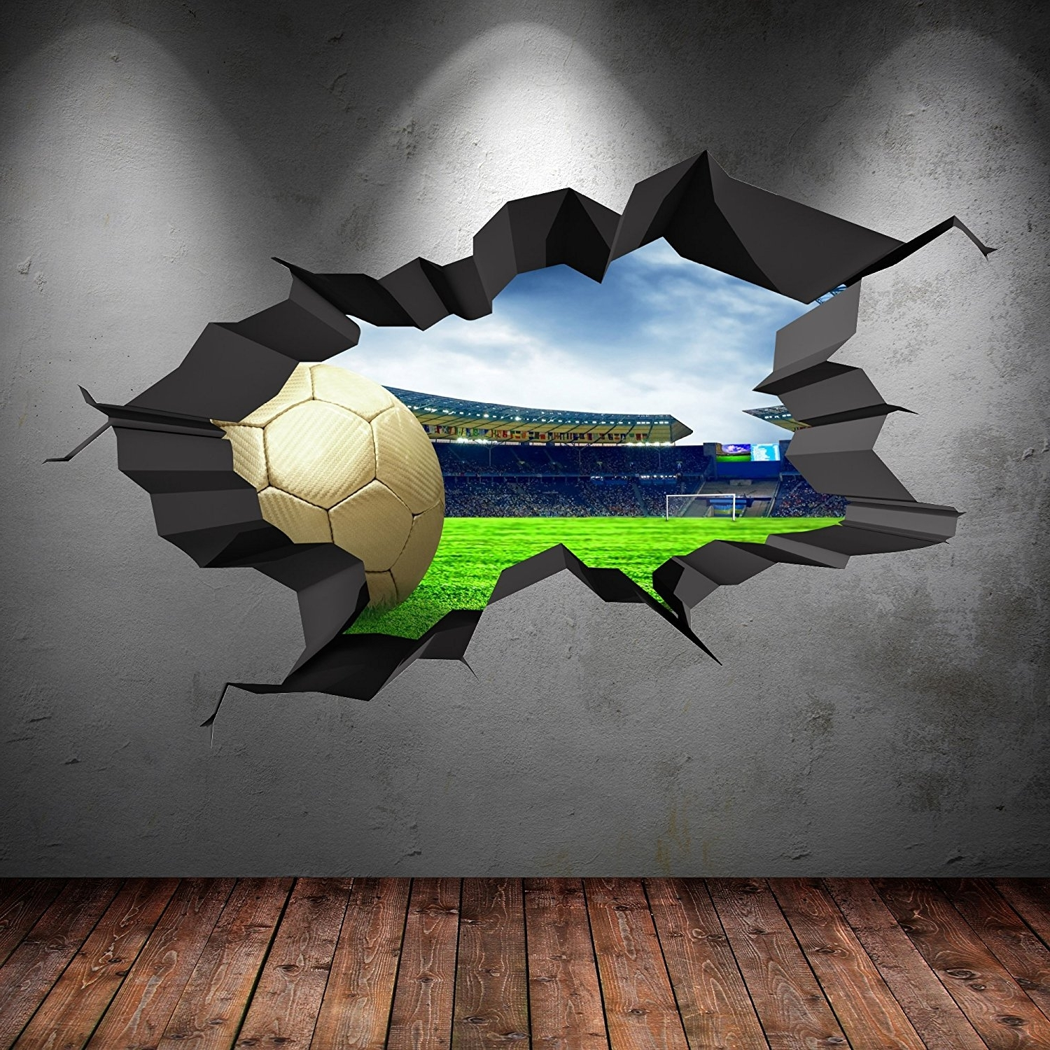Widely Used 3D Football Full Multi Colour Cracked Stadium Wall Art Stickers With Football 3D Wall Art (View 15 of 15)