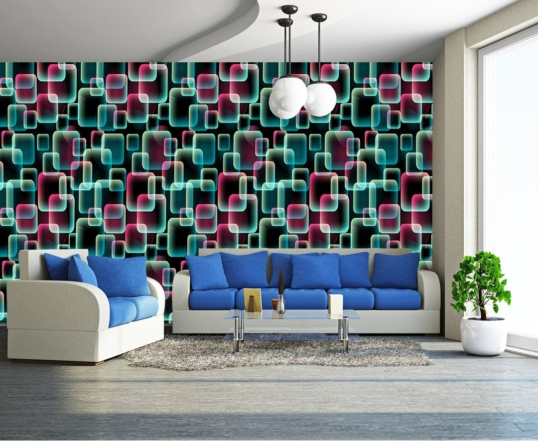 Widely Used Abstract Art Wall Murals Throughout Colours, 3D Squares Art Wall Mural Decor Photo Wallpaper (View 15 of 15)