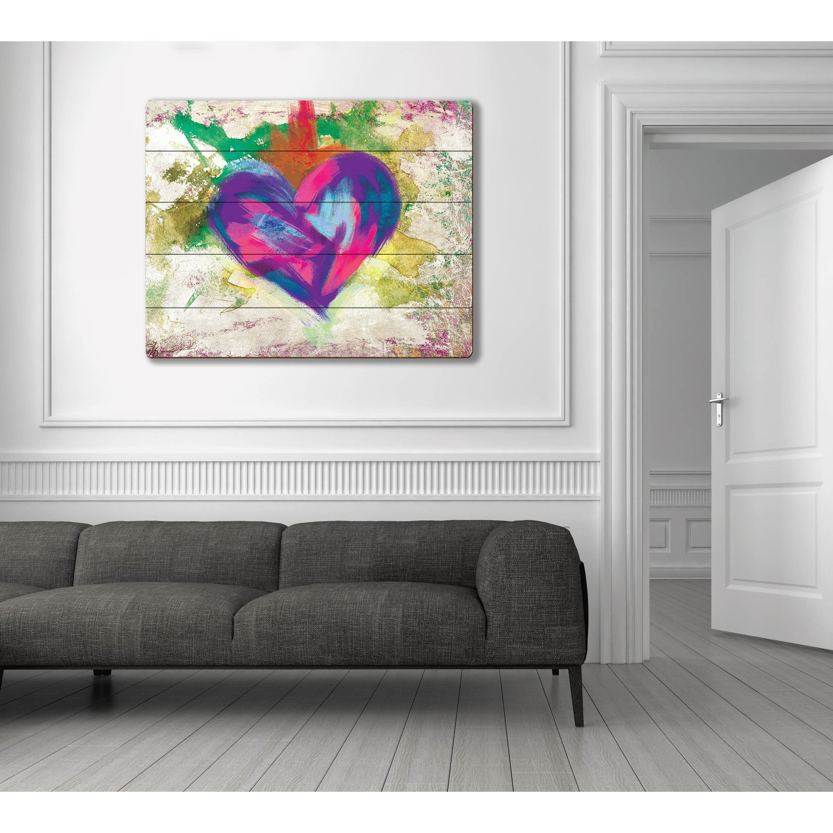Widely Used Abstract Heart Wall Art Within Up Beat Violet Abstract Heart Wall Art On Wood – Free Shipping (View 6 of 15)
