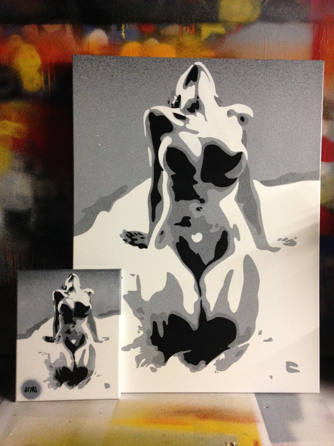 Widely Used Abstract Nude Painting In Grey White Black Canvas Bright Bold Within Bold Abstract Wall Art (View 15 of 15)