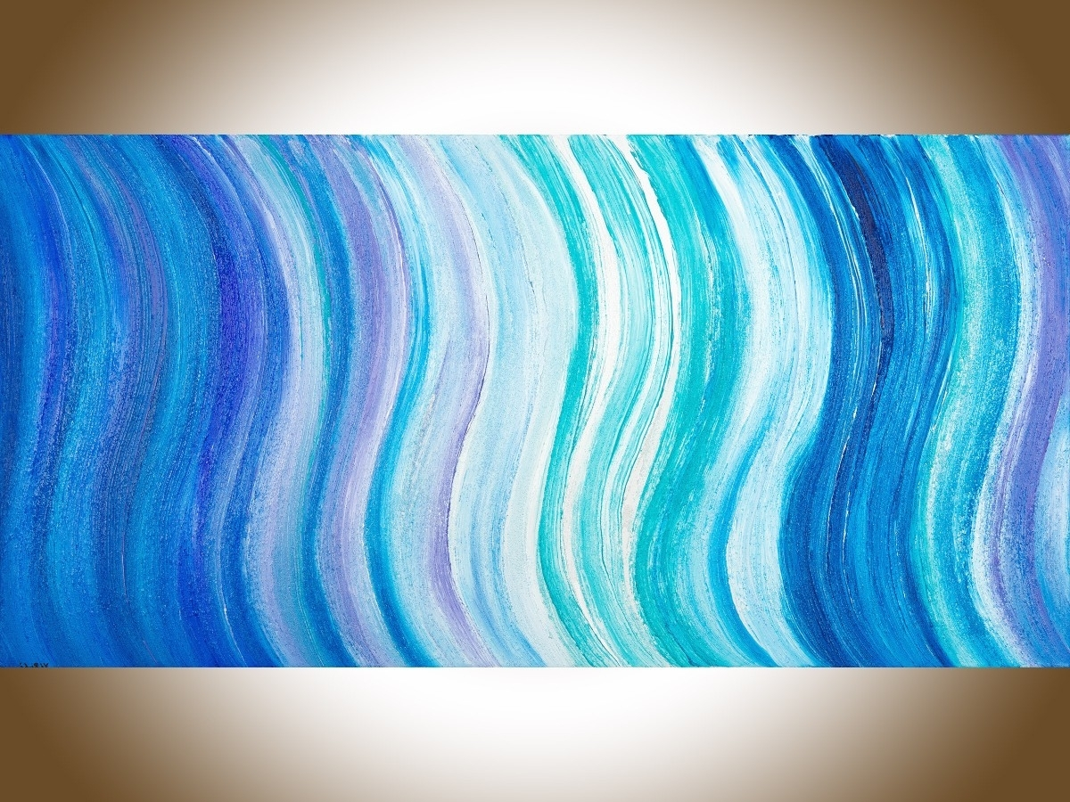 "Widely Used Abstract Ocean Wall Art Pertaining To Ocean Wavesqiqigallery 48""x24"" Original Modern Abstract Wall (View 5 of 15)"