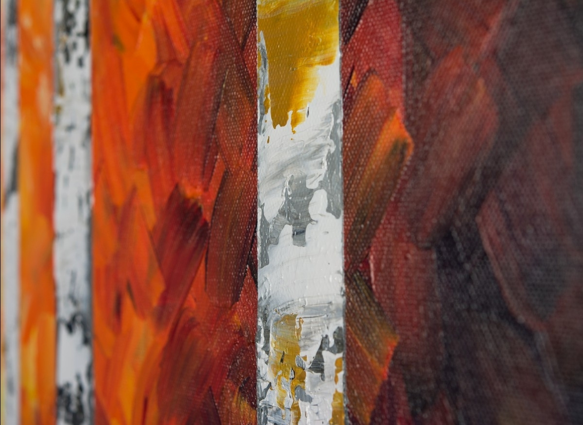 "Widely Used Autumn Birch Trees Iiqiqigallery 54"" X 24"" Original Oil In Yellow And Green Wall Art (View 12 of 15)"