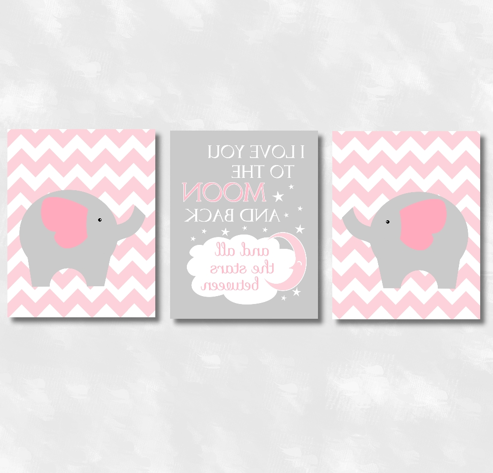 Widely Used Baby Girls Nursery Canvas Wall Art Pink Gray Grey I Love You To With Regard To Elephant Wall Art For Nursery (View 15 of 15)