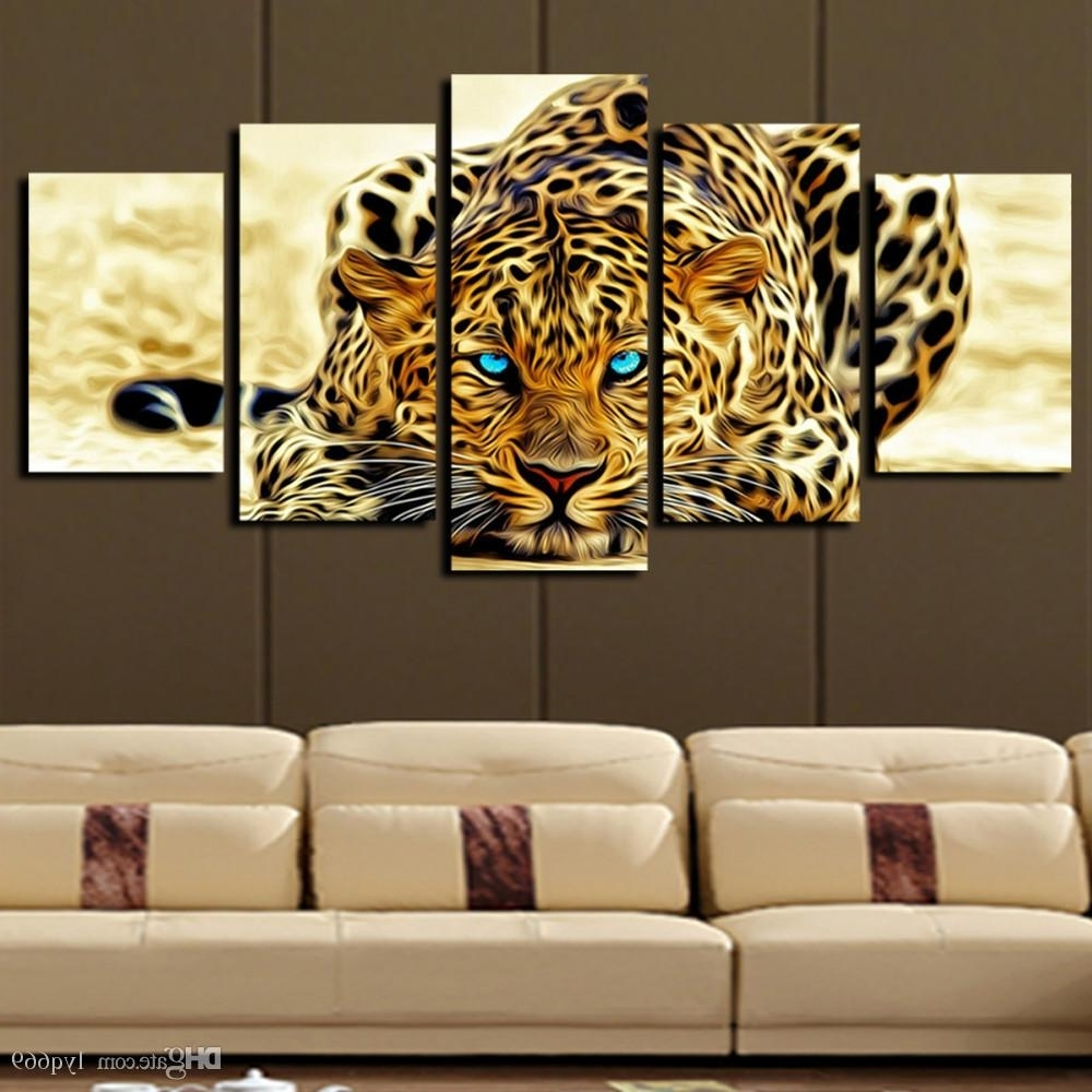 Widely Used Big Canvas Wall Art Within 2018 5 Panel Leopard Painting Canvas Print Painting Home (View 15 of 15)