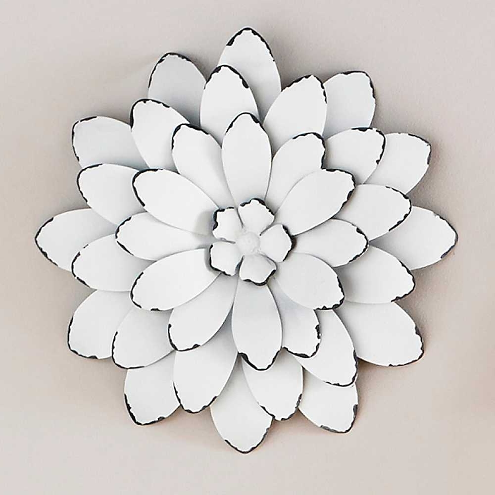 Widely Used Big Metal Wall Art With Wall Art Design Ideas: White Beautiful Large Metal Flower Wall Art (View 13 of 15)