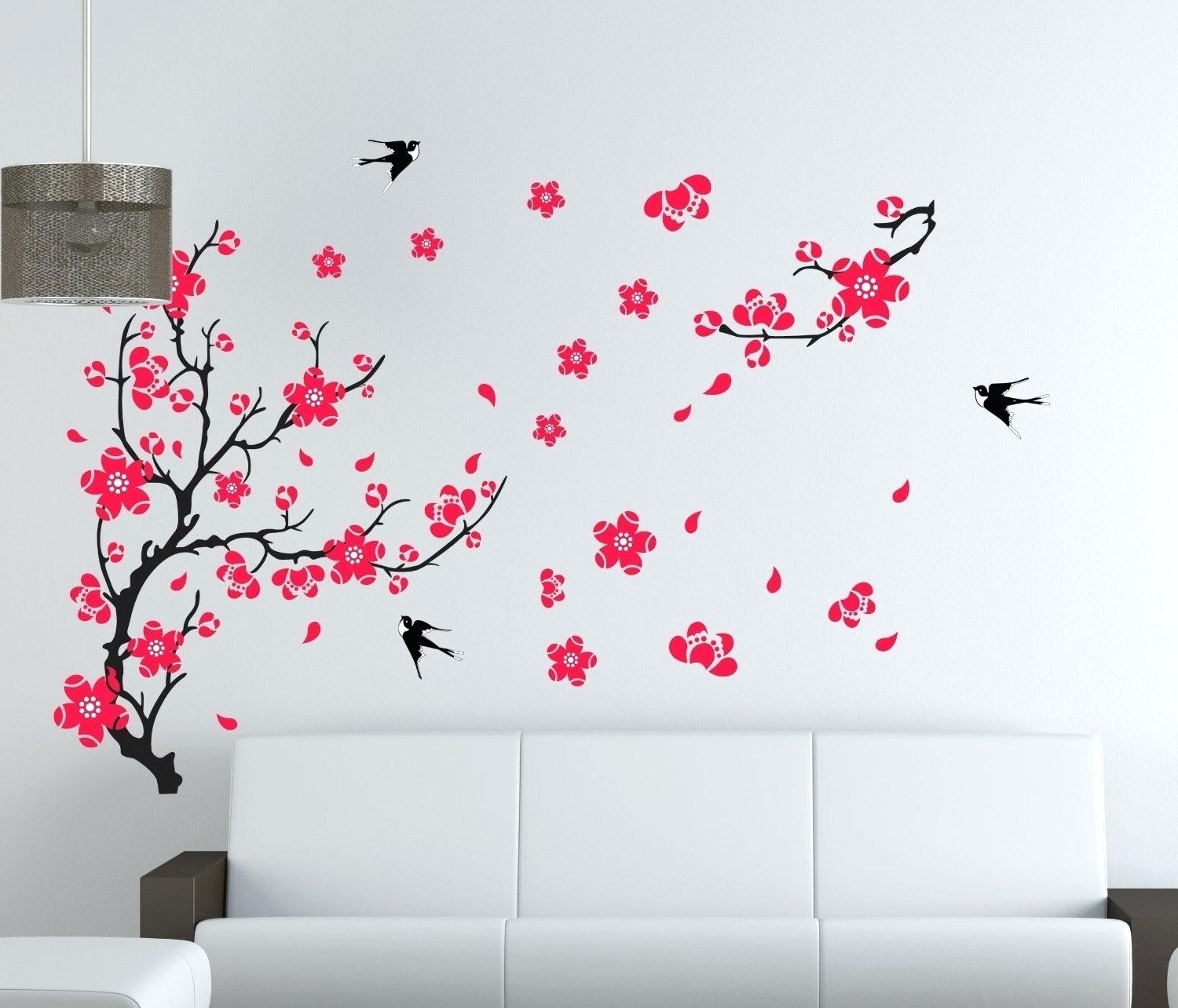 Widely Used Cherry Blossom Vinyl Wall Art Inside Cherry Blossom Vinyl Wall Decal Large Plum Blossom Flower (View 13 of 15)
