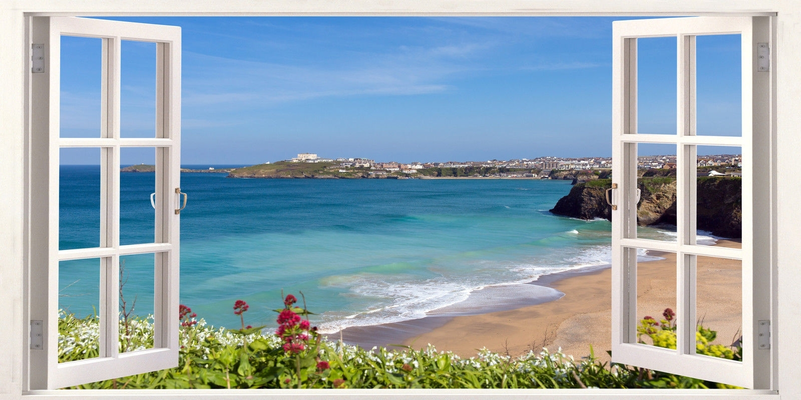 Widely Used Cornwall Newquay Surfing #beach 3d Effect Window Canvas #picture For Beach 3d Wall Art (View 12 of 15)