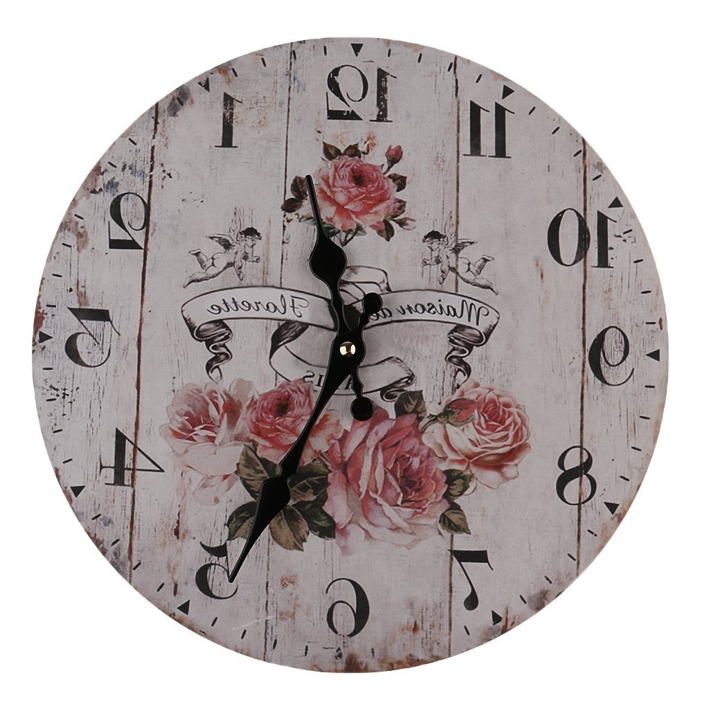 Widely Used Italian Ceramic Wall Clock Decors Inside Amazon: Magideal Vintage Wall Clock Rustic Shabby Chic Home (View 12 of 15)
