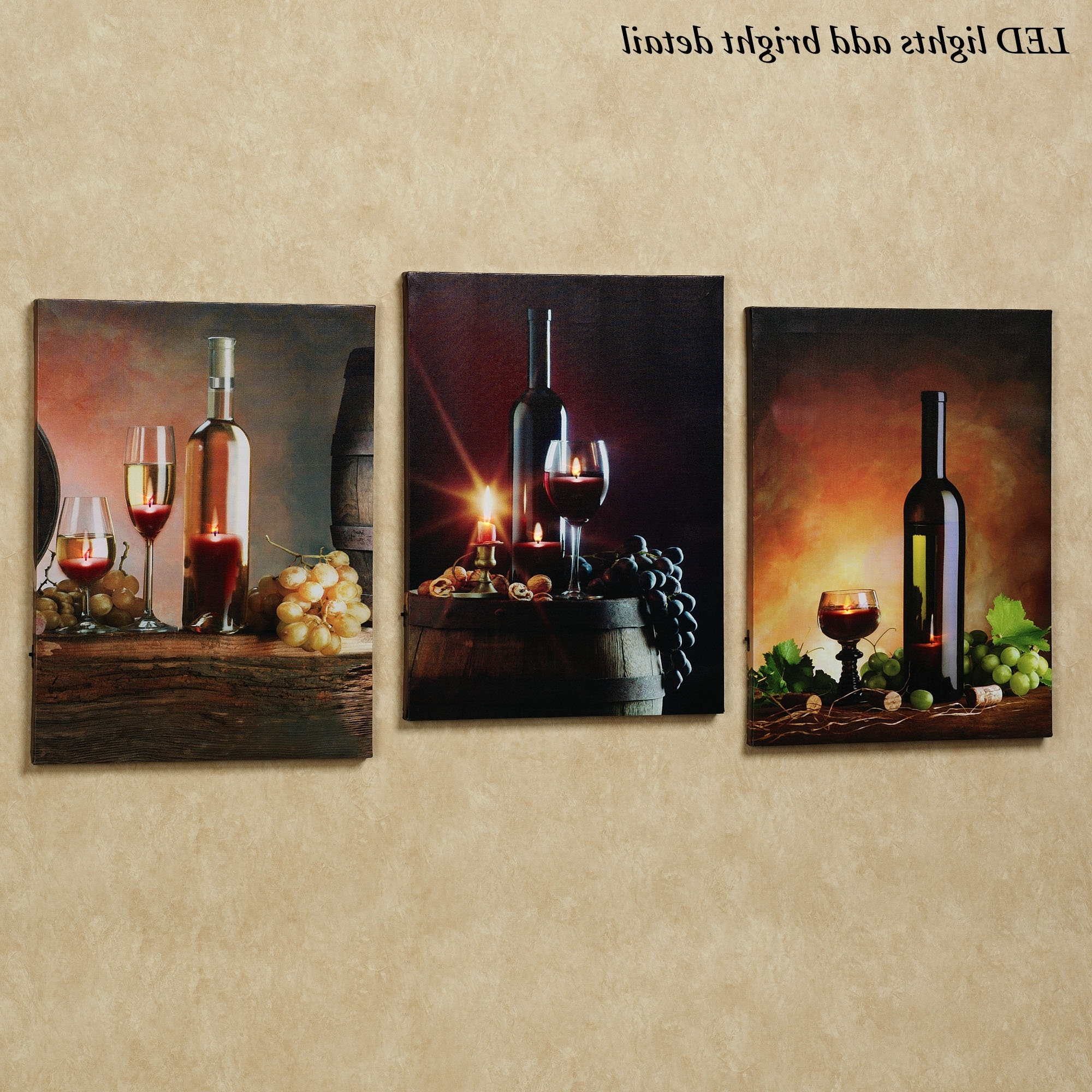 Widely Used Kitchen Wall Art Sets Intended For Lirac Wine Led Lighted Canvas Wall Art Set (View 15 of 15)