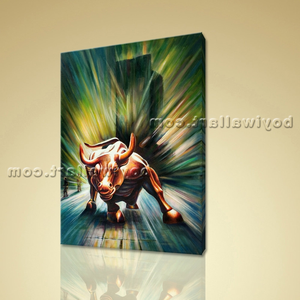 Widely Used Large Original Abstract Painting On Canvas Wall Street Bull Statue In Original Abstract Wall Art (View 15 of 15)