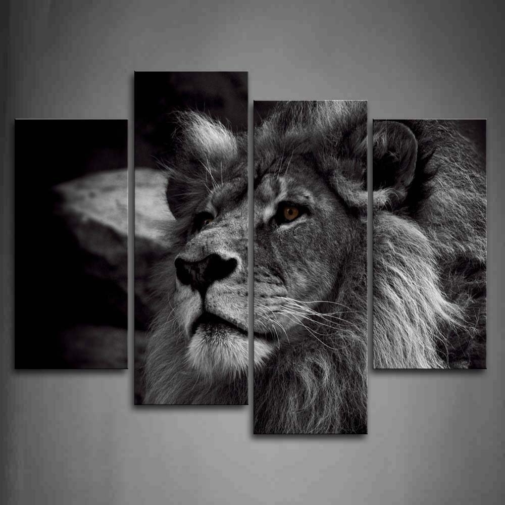 Widely Used Lion Wall Art In Amazon: Black And White Lion Head Portrait Wall Art Painting (View 15 of 15)