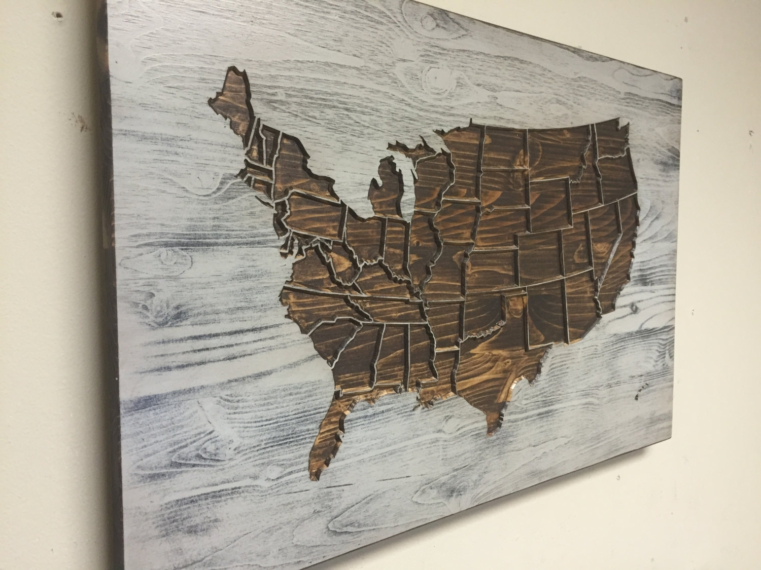Widely Used Map Wall Art With Rustic Us Map Wall Art, Wood Carved, United States Map With States (View 15 of 15)