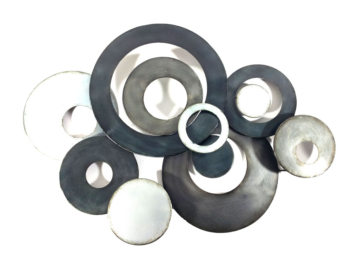 Widely Used Metal Wall Art – Charcoal Linked Circle Disc Abstract Regarding Abstract Circles Wall Art (View 15 of 15)