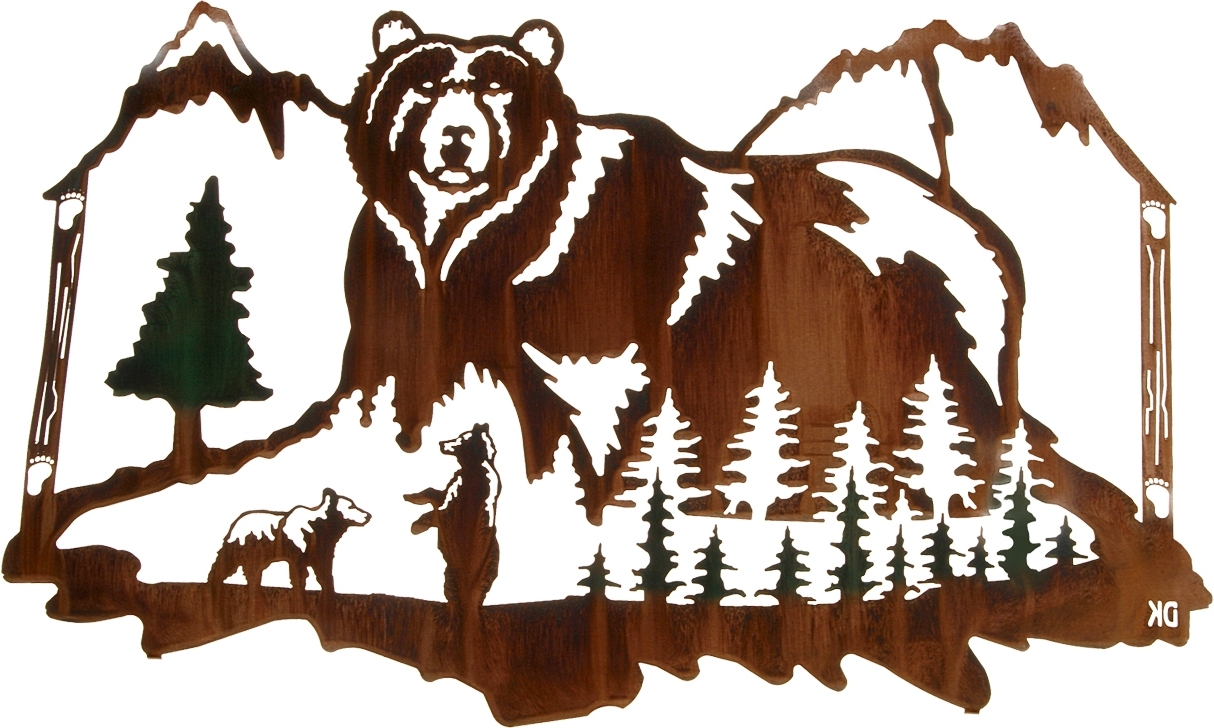 Widely Used Mountain Scene Metal Wall Art With Wall Art Design Ideas: Wildlife Jungles Green Bear Wall Art Colors (View 15 of 15)