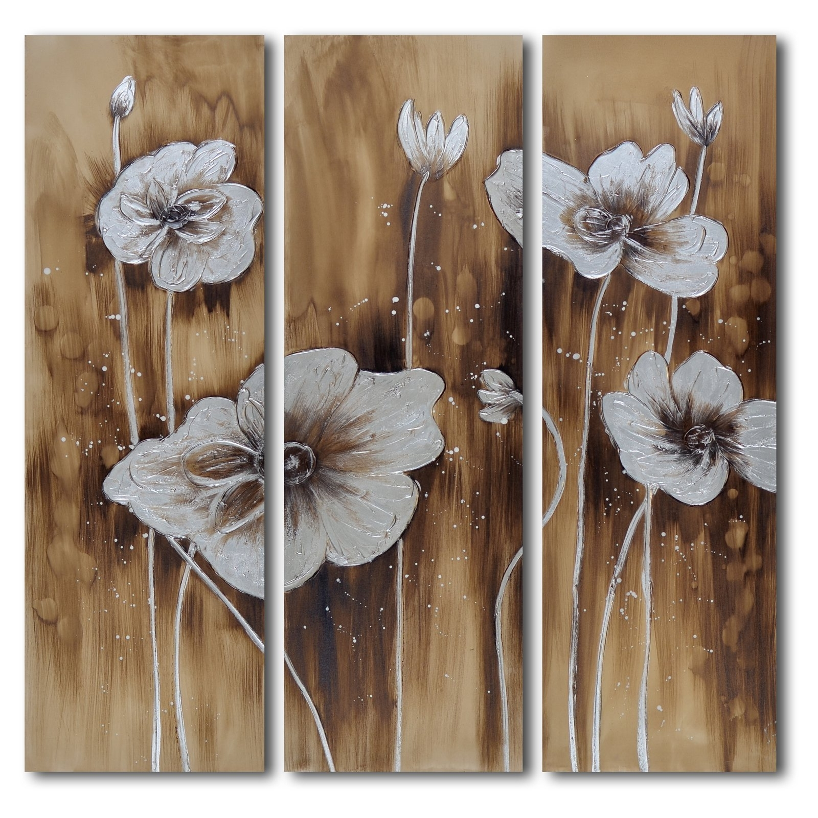 Widely Used Muddied Floral March 3 Piece Canvas Wall Art Set (View 15 of 15)