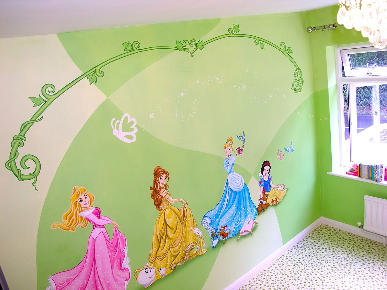 Widely Used Mural Disney Princesses Snow White Cinderella Belle And Aurora Throughout Disney Princess Wall Art (View 15 of 15)