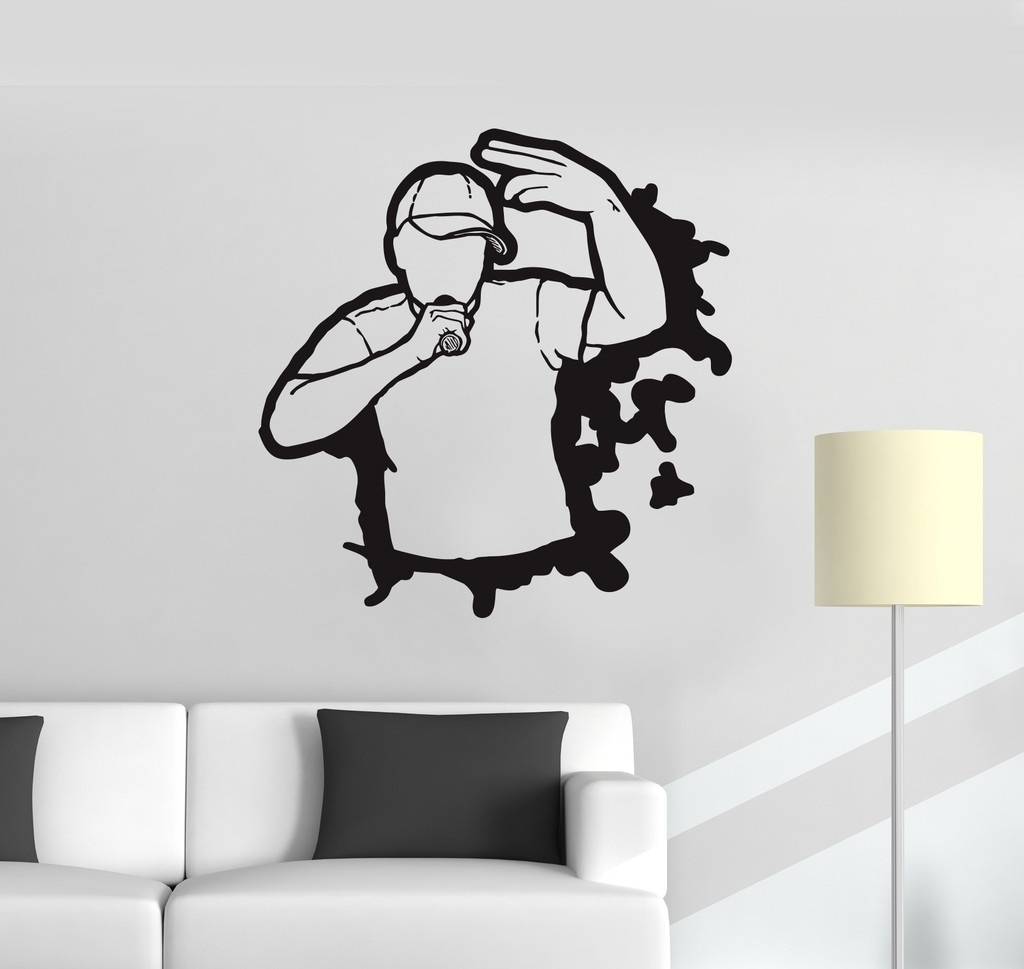Widely Used Nba Wall Murals In Vinyl Decal Rap Hip Hop Battle Music Teen Room Art Wall Stickers (View 15 of 15)