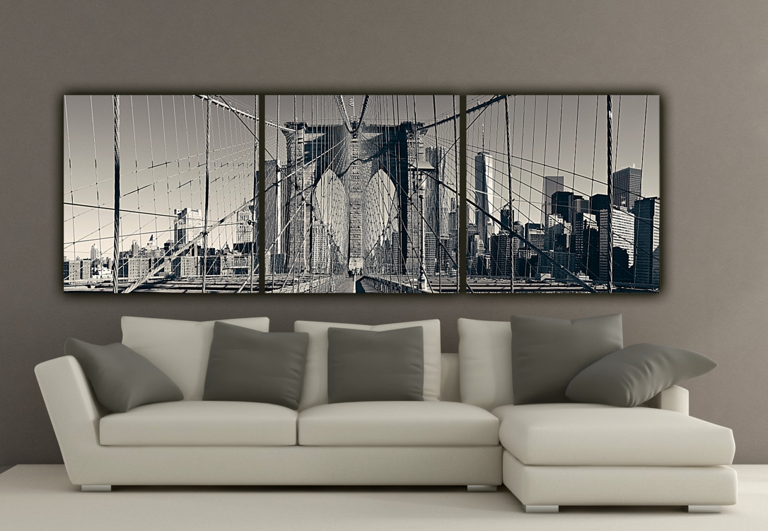 Widely Used New York City Wall Art Pertaining To New York Brooklyn Bridge Canvas Wall Art Black And White New (View 13 of 15)