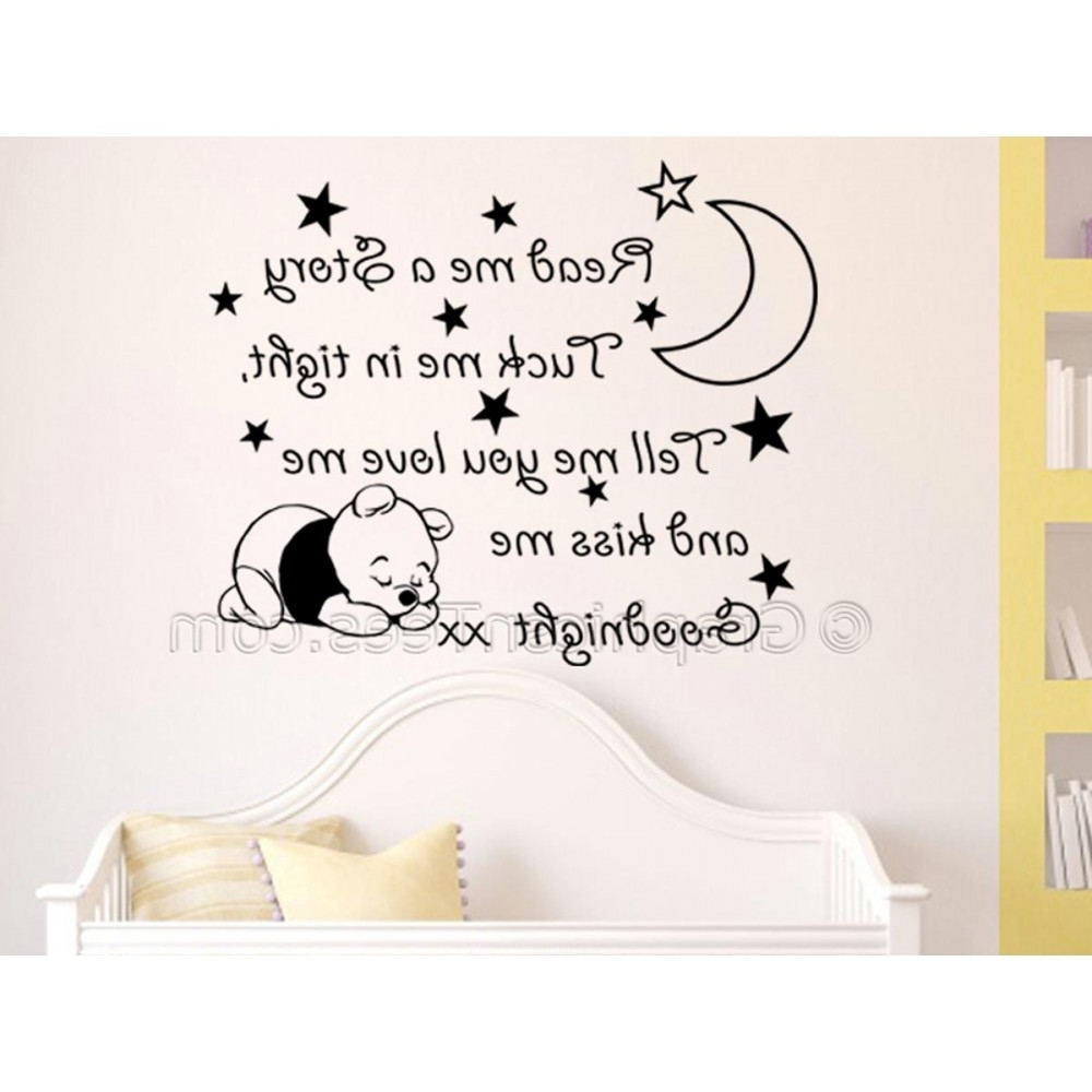 Widely Used Nursery Wall Sticker, Winnie The Pooh Bedroom Wall Quote Decor Pertaining To Winnie The Pooh Nursery Quotes Wall Art (View 11 of 15)