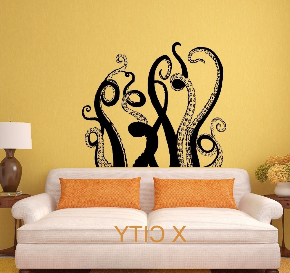 Widely Used Octopus Tentacles Sea Monster Black Wall Art Decal Sticker Pertaining To Octopus Tentacle Wall Art (View 15 of 15)
