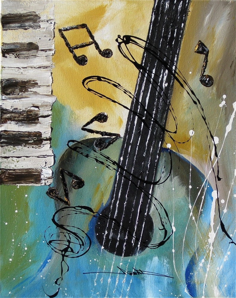 Widely Used Orginal Art Absrtact Painting Jazz Guitar Piano Music Notes  By For Abstract Musical Notes Piano Jazz Wall Artwork (View 15 of 15)