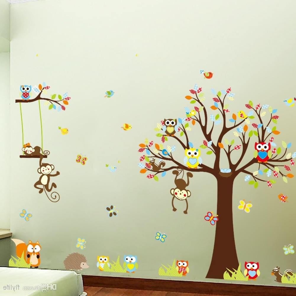 Widely Used Owl Wall Art Stickers Pertaining To Large Monkey Owl Tree Wall Decal Removable Sticker Kids Art (View 14 of 15)