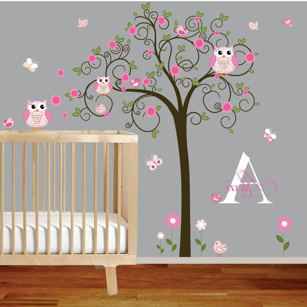 Widely Used Owl Wall Art Stickers With Regard To Tree Murals For Nursery (View 15 of 15)