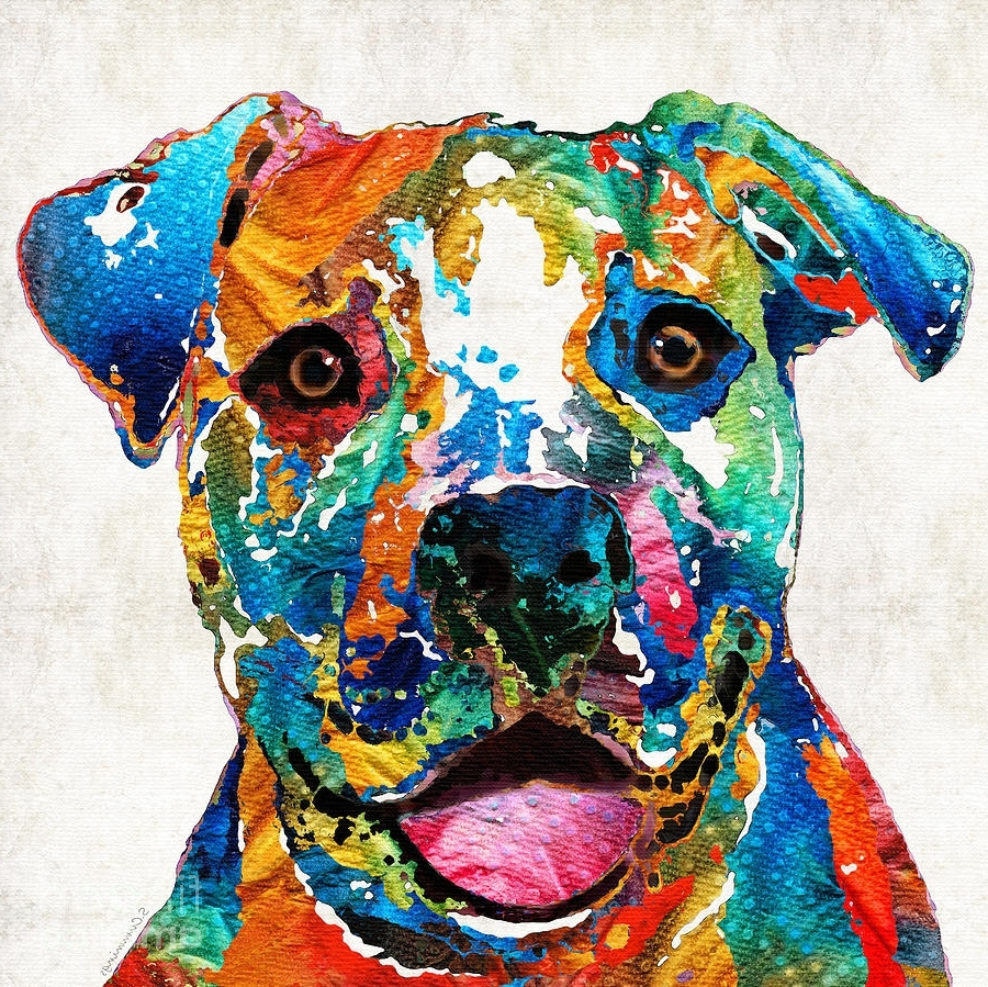 Widely Used Pitbull Wall Art With Regard To Colorful Dog Pit Bull Art – Happy Sharon Cummings Painting (View 2 of 15)