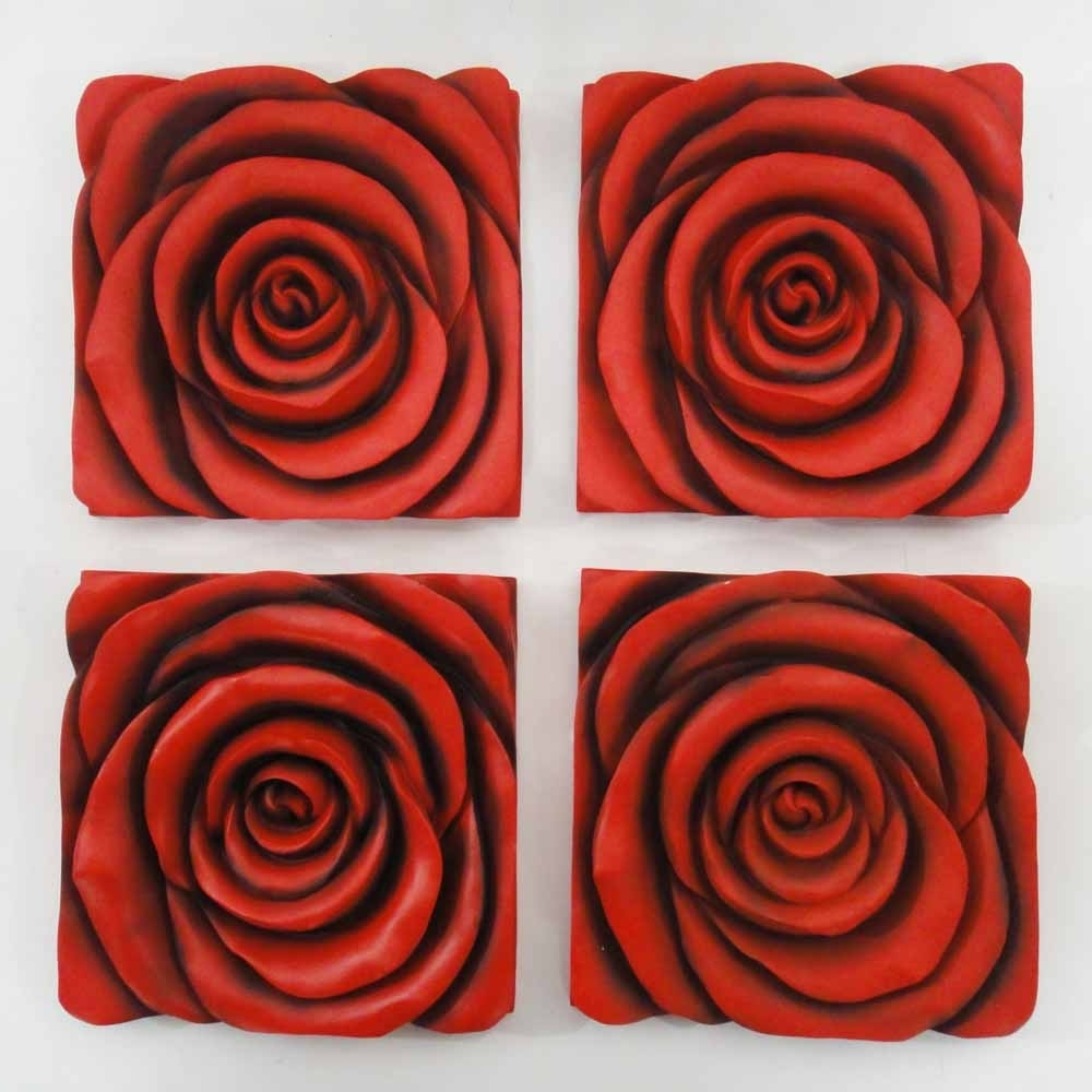 Widely Used Resin Wall Art – Red Rose In Bloom 4 Panel Set Inside Red Rose Wall Art (View 3 of 15)