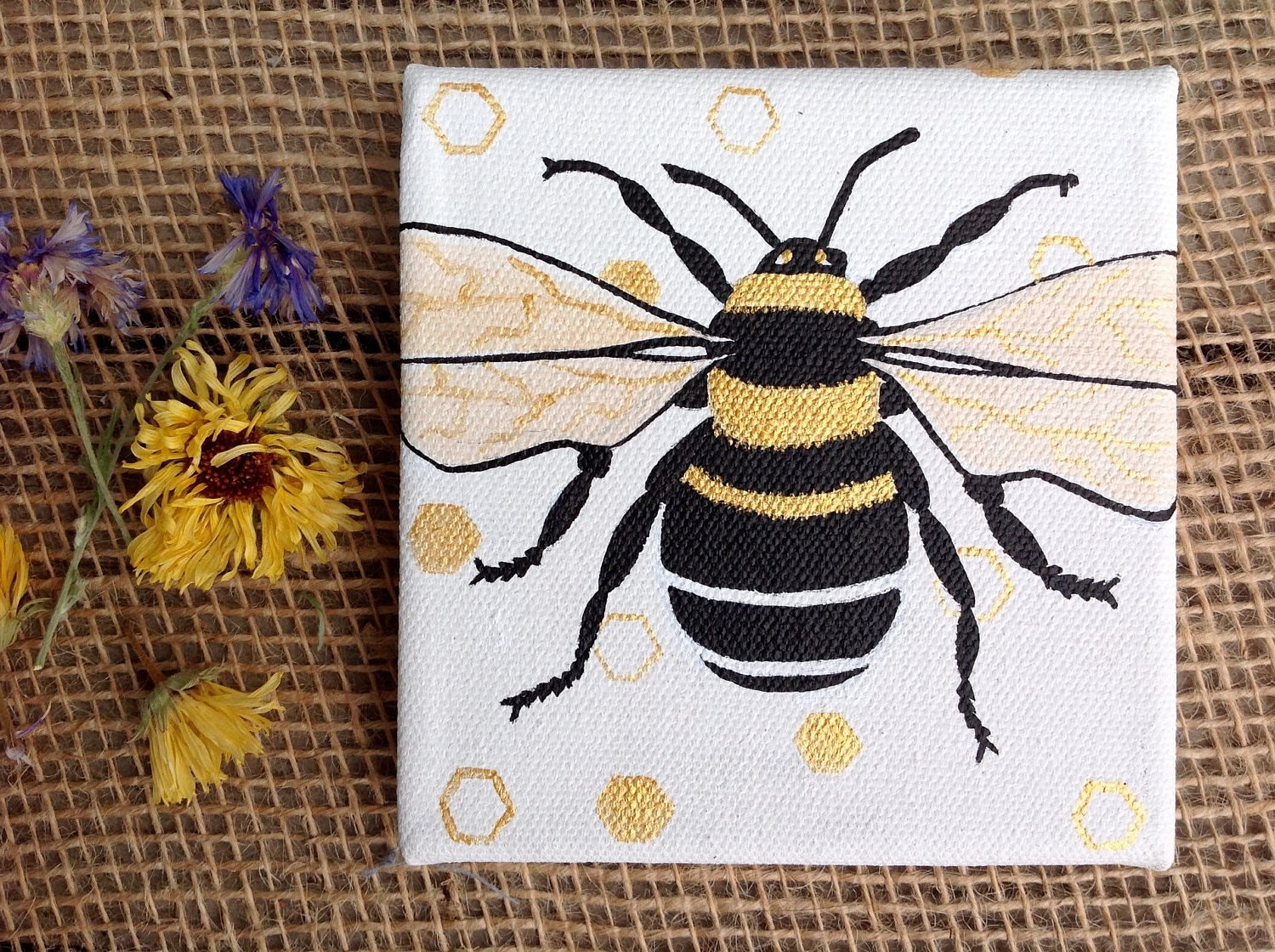 Widely Used Small Bee Art, Bumblebee Artwork, Nursery Art, Original Painting In Insect Wall Art (View 4 of 15)