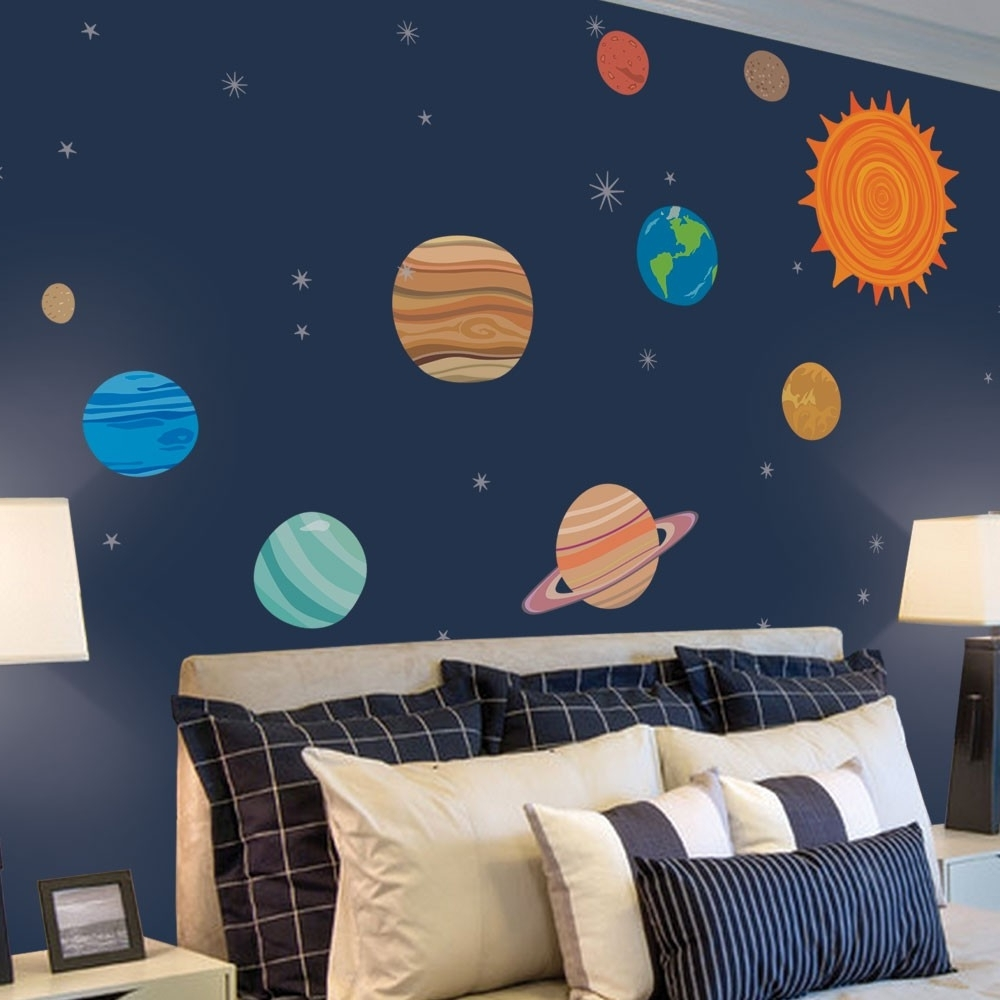 Widely Used Solar System Wall Art Within Colors : Solar System Wall Stickers India As Well As Solar System (View 15 of 15)