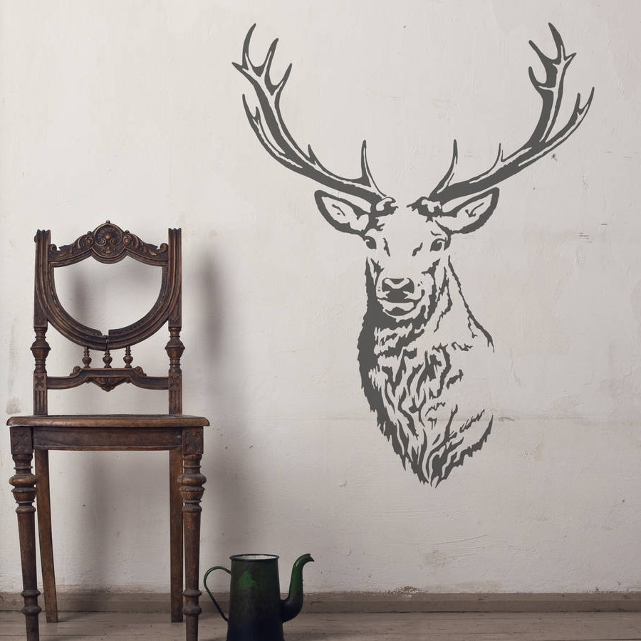 Widely Used Stag Head Vinyl Wall Stickeroakdene Designs Intended For Stags Head Wall Art (View 4 of 15)