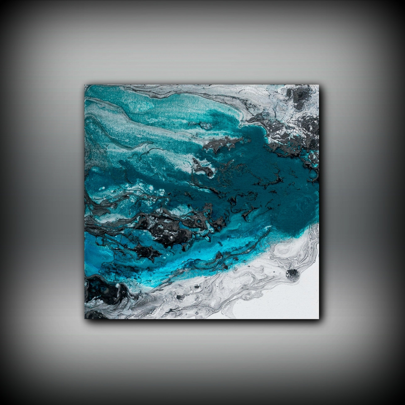 Widely Used Teal And Black Wall Art Throughout Blue Painting Square, Fine Art Prints Abstract Painting, Black (View 15 of 15)