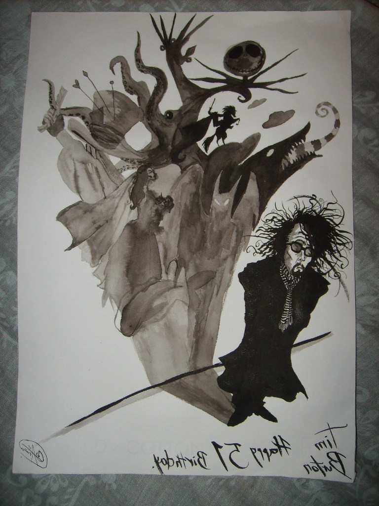 Widely Used Wall Art Designs: Awesome Drawing Tim Burton Wall Art Using Within Tim Burton Wall Decals (View 14 of 15)