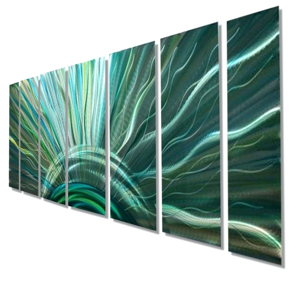 Widely Used Wall Arts ~ Blue Moon Silver With Blue Green Fusion Modern Metal Within Blue And Green Wall Art (View 15 of 15)