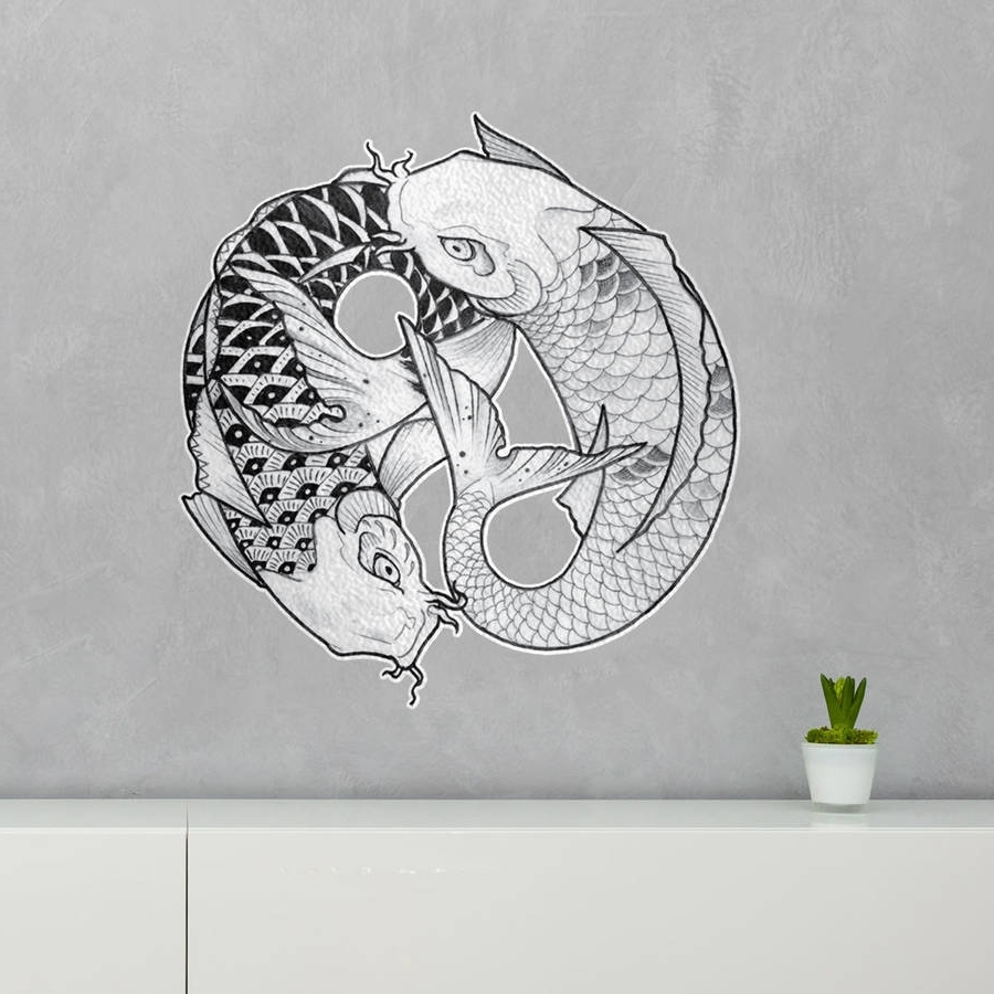 Widely Used Yin Yang Wall Art Throughout Ying Yang Koi Fish Wall Art Stickerkitty Fostervinyl (View 8 of 15)