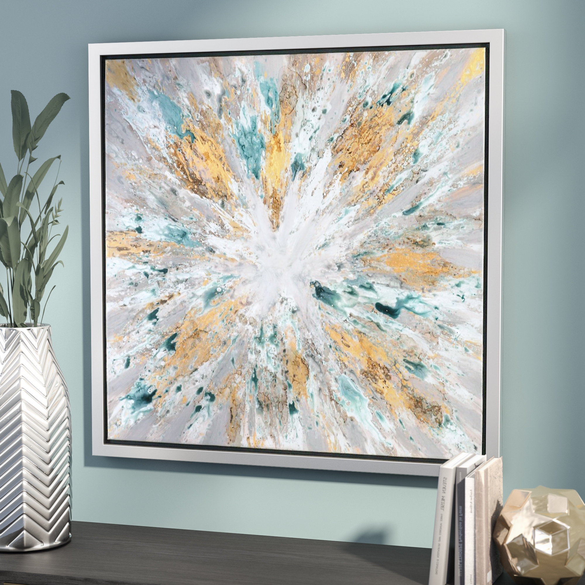 Willa Arlo Interiors 'exploding Star Modern' Abstract Framed Oil Pertaining To Most Recently Released Ottawa Abstract Wall Art (View 15 of 15)