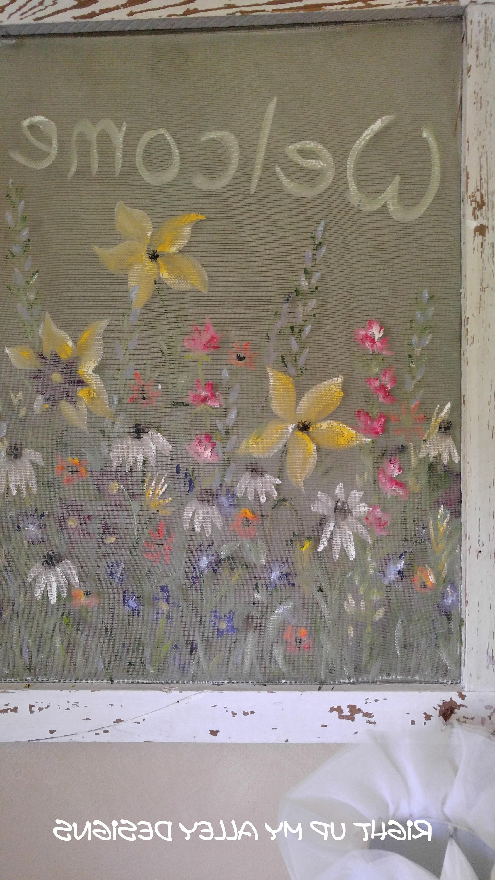 Window Screen Art,painted Screen,wall Art,welcome, Wildflower Art In 2018 Shabby Chic Wall Art (View 9 of 15)