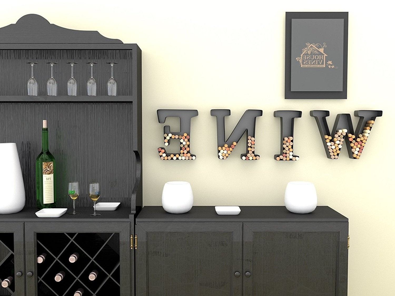 Wine Themed Wall Art Inside Well Known Amazon: Wine Letter Cork Holder Art Wall Décor ~ Metal ~ All (View 14 of 15)